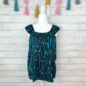 Pink Twill Black & Blue Patterned Flowy Top NWT